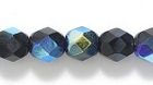 Czech Pressed Glass 6mm faceted round black ab opaque iridescent