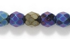 Czech Pressed Glass 6mm faceted round blue opaque iridescent
