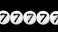Czech Pressed Glass 6mm number bead 7 white with black opaque