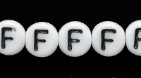 Image Czech Pressed Glass 6mm letter bead F white with black opaque