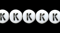 Czech Pressed Glass 6mm letter bead K white with black opaque