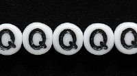 Image Czech Pressed Glass 6mm letter bead Q white with black opaque