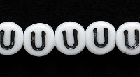 Image Czech Pressed Glass 6mm letter bead U white with black opaque