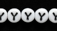 Image Czech Pressed Glass 6mm letter bead Y white with black opaque
