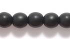 Czech Pressed Glass 6mm round black opaque matte