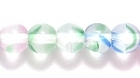 Czech Pressed Glass 6mm round crystal w/red, blue & green stripes transparent