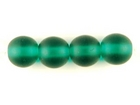 Czech Pressed Glass 6mm round dark emerald green transparent matte