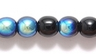 Czech Pressed Glass 6mm round black w/blue opaque iridescent