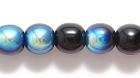 Czech Pressed Glass 6mm round black w/blue opaque iridescent