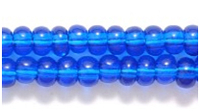 Seed Beads Czech pony size 6 capri blue transparent