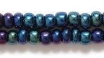 Seed Beads Czech pony size 6 blue iris opaque iridescent