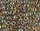 Image Seed Beads Miyuki Seed size 8 light topaz ab w/amethyst color lined iridescent