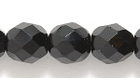 Czech Pressed Glass 8mm faceted round black opaque