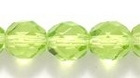 Czech Pressed Glass 8mm faceted round peridot green transparent