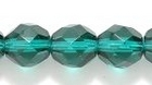 Czech Pressed Glass 8mm faceted round dark emerald green transparent