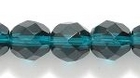 Czech Pressed Glass 8mm faceted round deep emerald green transparent