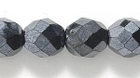 Czech Pressed Glass 8mm faceted round hematite opaque iridescent