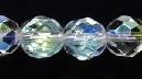 Czech Pressed Glass 8mm faceted round crystal ab transparent iridescent