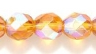 Czech Pressed Glass 8mm faceted round topaz transparent iridescent
