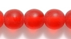 Czech Pressed Glass 8mm round ruby red transparent matte