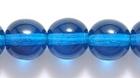 Czech Pressed Glass 8mm round capri blue transparent
