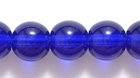 Czech Pressed Glass 8mm round cobalt blue transparent