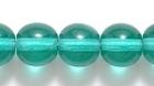 Czech Pressed Glass 8mm round emerald green transparent