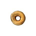 Metal Beads 4mm Kenyan flat gold finish lead free pewter