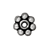 Metal Beads 5mm daisy spacer antique silver lead free pewter