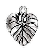 Image Metal Charms violet leaf antique silver 18 x 15mm