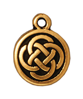 Image Metal Charms Celtic round antique gold 12mm