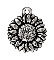 Metal Charms sunflower antique silver 15mm