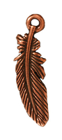 Metal Charms feather antique copper 23mm