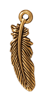 Metal Charms feather antique gold 23mm