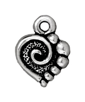 Metal Charms spiral heart antique silver 10mm