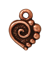 Metal Charms spiral heart antique copper 10mm