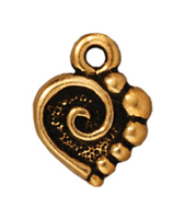 Metal Charms spiral heart antique gold 10mm