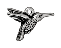 Metal Charms hummingbird antique silver 19mm