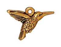 Metal Charms hummingbird antique gold 19mm
