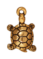 Metal Charms turtle antique gold 11 x 18mm