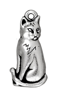 Metal Charms sitting cat antique silver 23mm