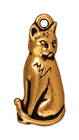 Metal Charms sitting cat antique gold 23mm
