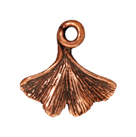 Metal Charms ginko leaf antique copper 13mm