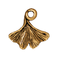 Metal Charms ginkgo leaf antique gold 13mm