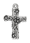Metal Charms Floral Cross antique silver large