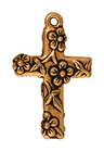 Metal Charms Floral Cross antique gold large