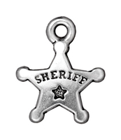 Metal Charms sheriff badge antique silver 15mm
