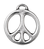 Metal Charms peace sign silver 24mm