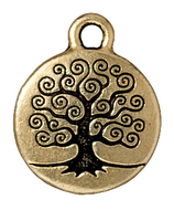 Metal Charms tree of life antique gold 15mm