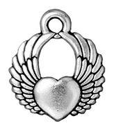 Metal Charms winged heart antique silver 15mm